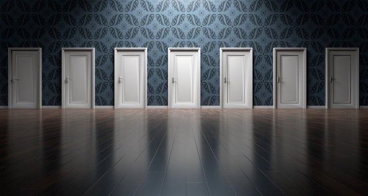 A surreal picture of several doors.