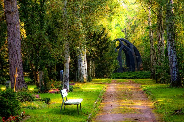 A park bench along a cemetery pathway.