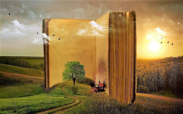 A surreal picture of the Book of Life.