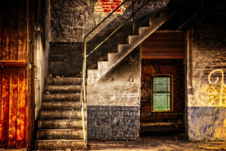 A surreal photo of a stairway.