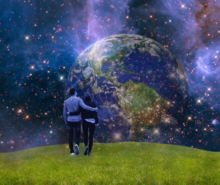 A surreal picture of a couple walking together with the Earth in the background.