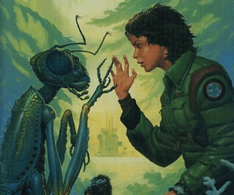 meeting an insectiod alien.