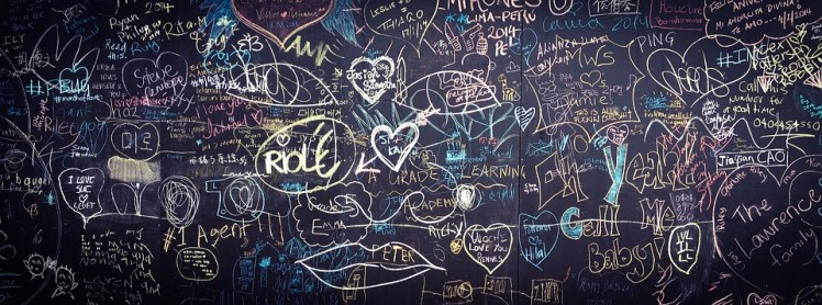A chalkboard with scribbles all over it.