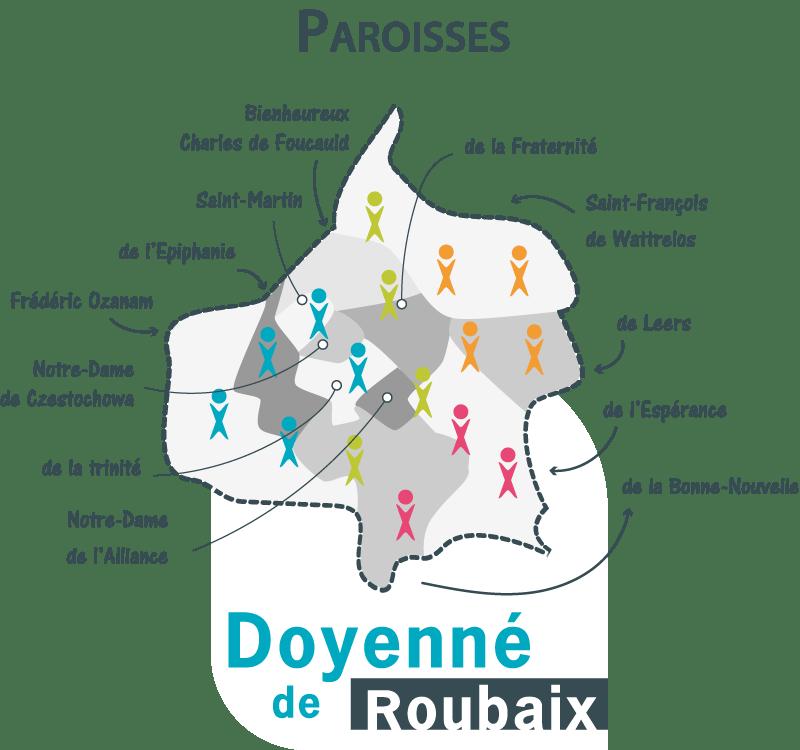 carte du Doyenné de Roubaix