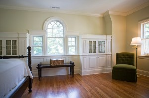 palladian window and wood floor