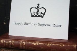 Happ birthday supreme ruler close up