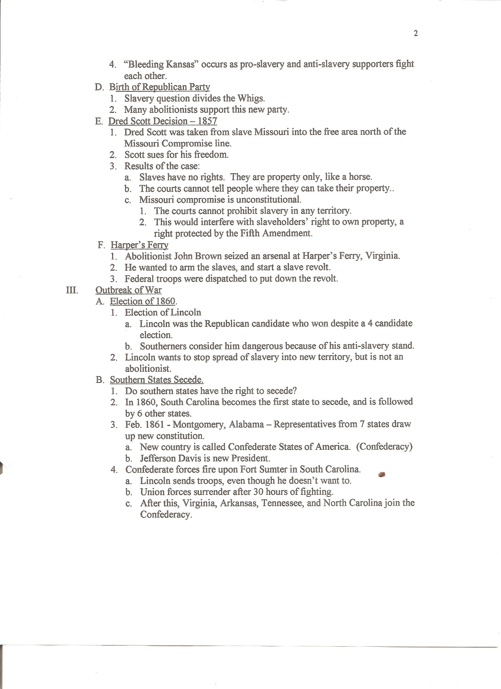 Civil War Vocabulary And Notes