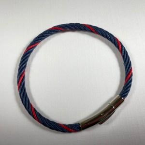 Bracelet chanvre naturel teinte bleue +rouge