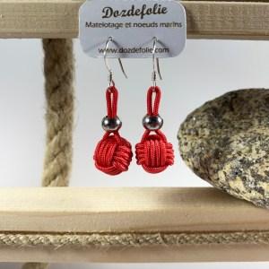 Boucles d'oreilles pomme de touline drisse rouge