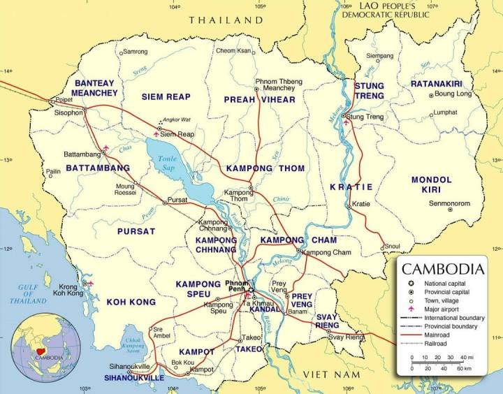 Kaart met provincies in Cambodja