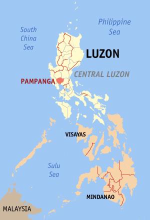 Ligging van de provincie Pampanga op Luzon Island, Filipijnen