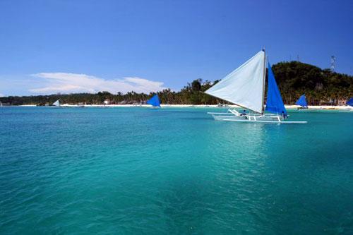 Paraw zeilen - Boracay, Western Visayas, Filipijnen