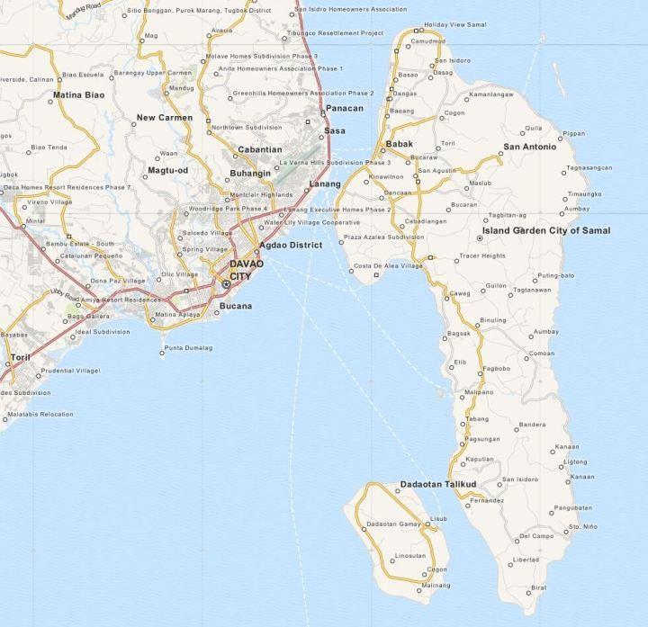 Kaart Davao City & Samal Island, Mindanao, Filipijnen