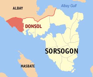 Locatie gemeente Donsol in de provincie Sorsogon - Luzon, Filipijnen