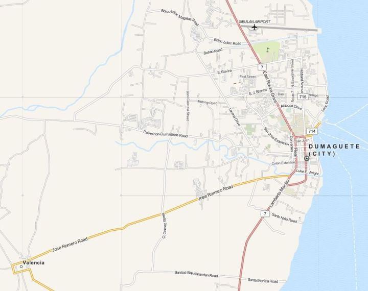 Kaart Dumaguete, Negros, Central Visayas, Filipijnen