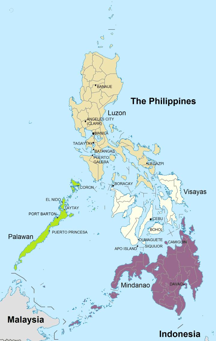 Kaart Filipijnen met onze belangrijkste bestemmingen