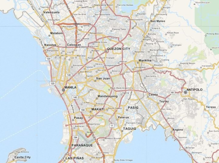 Kaart Metro Manilla (Manila) - Luzon, Filipijnen