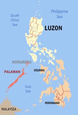 Ligging provincie Palawan, Filipijnen