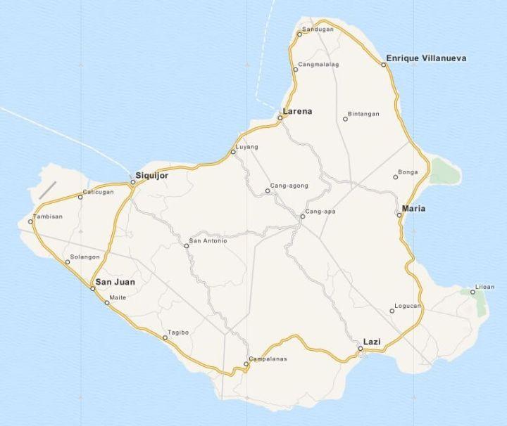 Kaart Siquijor, Central Visayas, Filipijnen