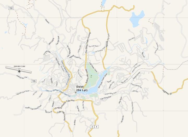 Kaart Dalat (Da Lat) en Omgeving, Midden Vietnam