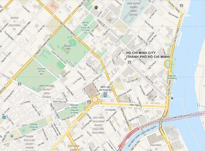 Kaart Centrum Ho Chi Minh City (Saigon), Zuid Vietnam