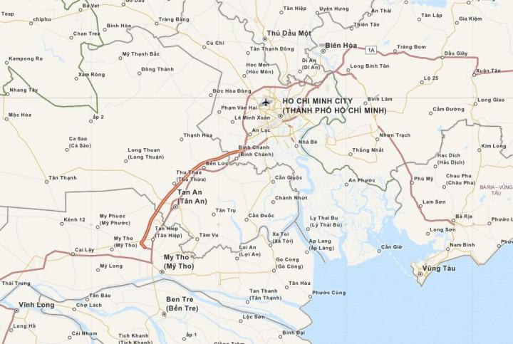 Kaart Ho Chi Minh City (Saigon) en Omgeving, Zuid Vietnam