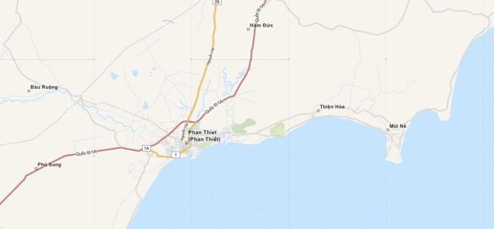 Kaart Mui Ne, Phan Thiet en Omgeving, Midden Vietnam