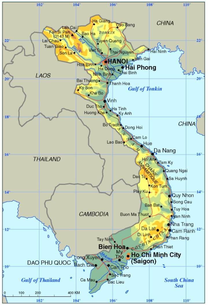 Topografische kaart Vietnam