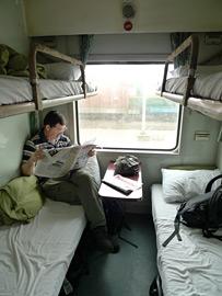 4-persoons slaapcabine op de trein van Hue naar een andere bestemming in Vietnam