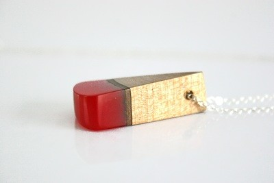 Carlow Plum Wood Collection: Small Sunset Red pendant