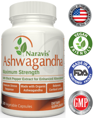 Naravis Organic Ashwagandha with Black Pepper - 1300 mg Serving - 120 Capsules
