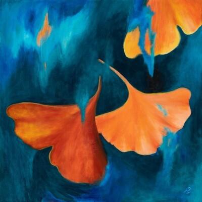 Hilda Bordianu -- Autumn Gingko Biloba Leaves