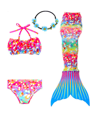 Youth Girl's Mermaid Bikini Set, Headband and Tail