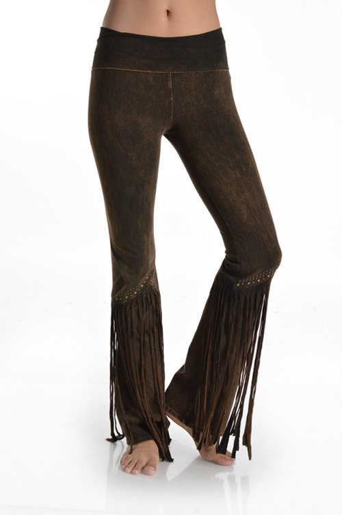 Studded and Fringe Pants Brown