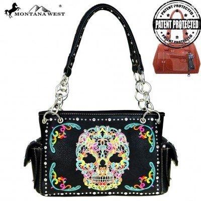 Montana West Sugar Skull Concealed Carry Handbag - Black Multi