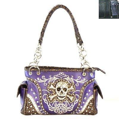 Skull Concealed Carry Shoulder Bag - Purple