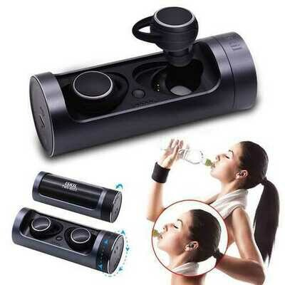 [True Wireless] Portable Dual bluetooth Earphone Ratation Open Waterproof Stereo with Charging Case