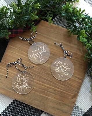 Modern Christmas Ornaments | Acrylic Circle Ornament | Custom Christmas Ornament | Holiday | Gifts