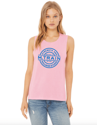 Pink Flowy Scoop Muscle Tank with Blue Logo