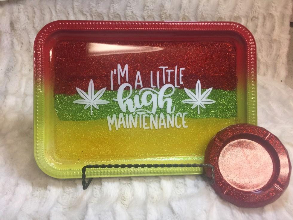 Marley Glitter Rolling /Vanity Tray Set