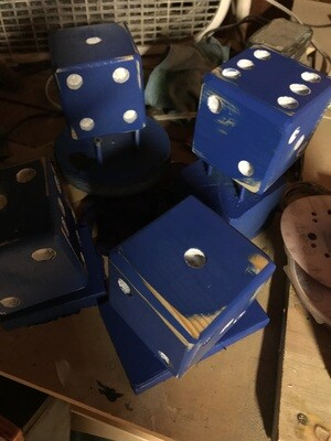 April Blue Dice with white pips/Bucket Not Included