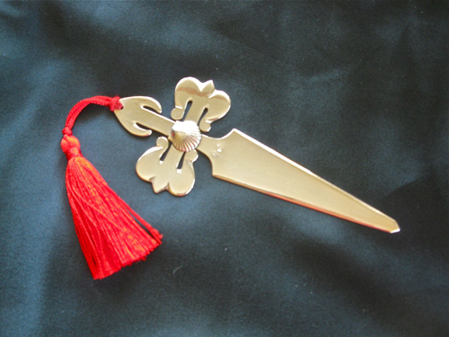 Solid Silver St James Cross + Scallop bookmark / letter opener