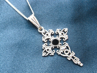 St James cross necklace ~ silver filigree + jet