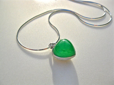 Green jade + silver heart necklace