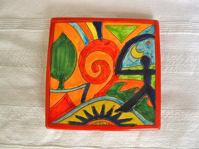 Spanish plate ~ Indalo swirl, square
