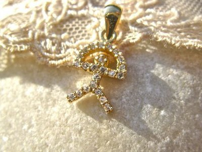 Indalo pendant ~ classic, 18ct gold + zirconite