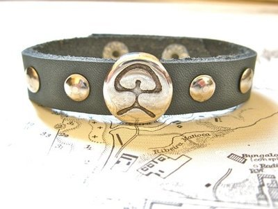 Indalo charm bracelet ~  leather strap, grey