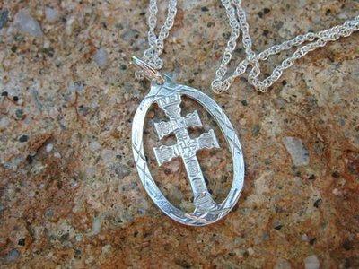 Caravaca cross necklace ~ oval, silver