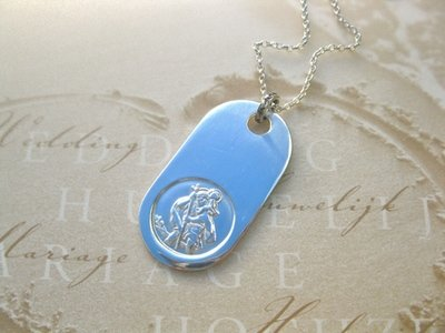 St Christopher dog tag necklace - solid 925 silver, for safe travels