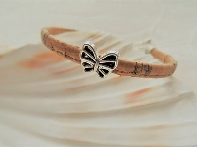 Butterfly charm bracelet ~ cork cord with silver